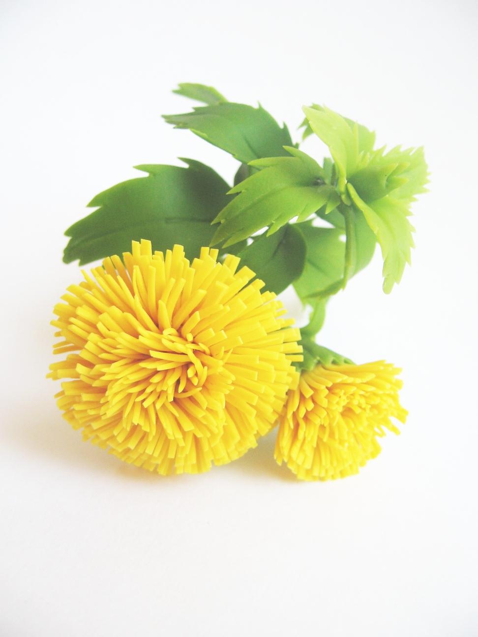 Одуванчики из полимерной глины Fleur