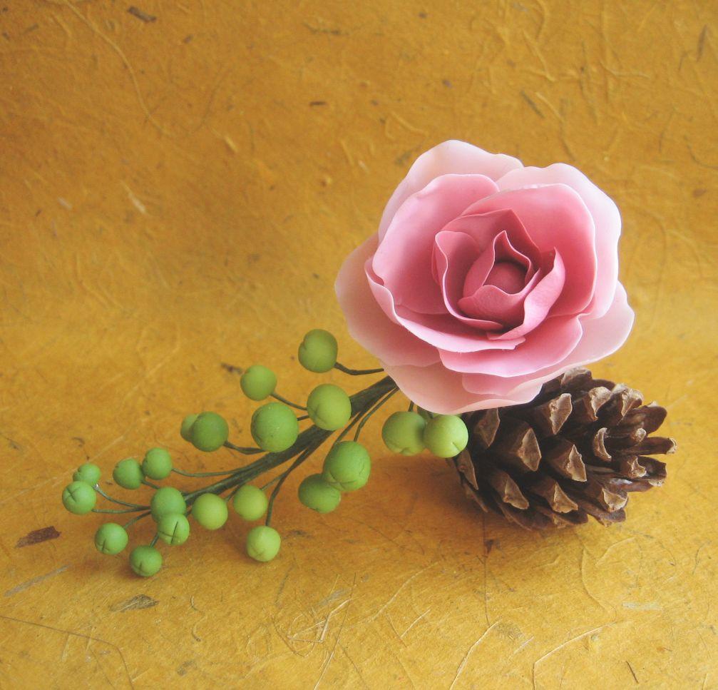 Роза из полимерной глины Fleur